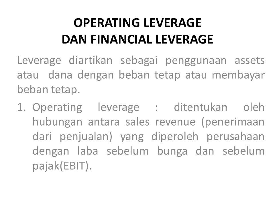 OPERATING LEVERAGE DAN FINANCIAL LEVERAGE Leverage diartikan sebagai penggunaan assets atau dana dengan beban tetap atau membayar beban tetap.