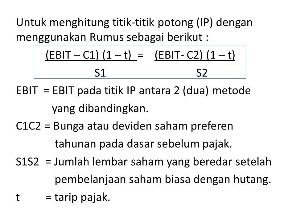 Untuk menghitung titik-titik potong (IP) dengan menggunakan Rumus sebagai berikut : (EBIT – C1) (1 – t) = (EBIT- C2) (1 – t) S1 S2 EBIT = EBIT pada titik IP antara 2 (dua) metode yang dibandingkan.