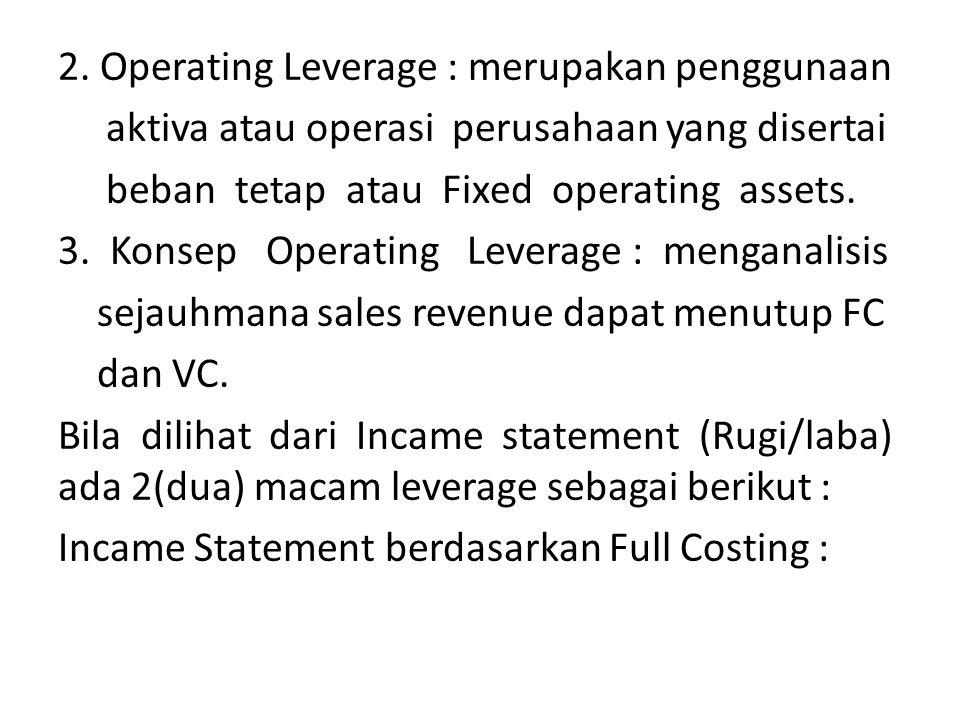 Sales RevenueRp xx CGSRp xx (-) Operating LeverageGross ProfitRp xx Operating Exp Rp xx (-) EBIT Rp xx InterestRp xx (-) Financial Leverage EBTRp xx TaxesRp xx (-) EATRp xx