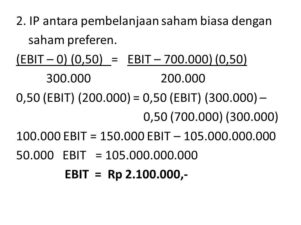 2.IP antara pembelanjaan saham biasa dengan saham preferen.
