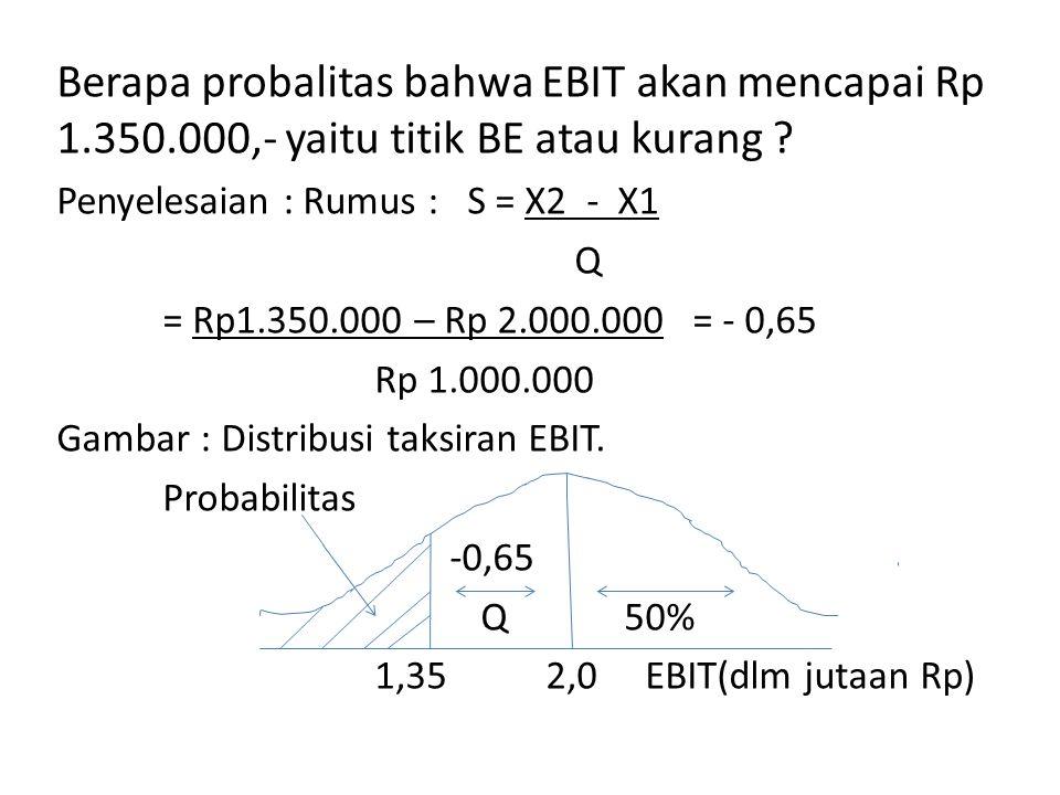 Berapa probalitas bahwa EBIT akan mencapai Rp 1.350.000,- yaitu titik BE atau kurang .