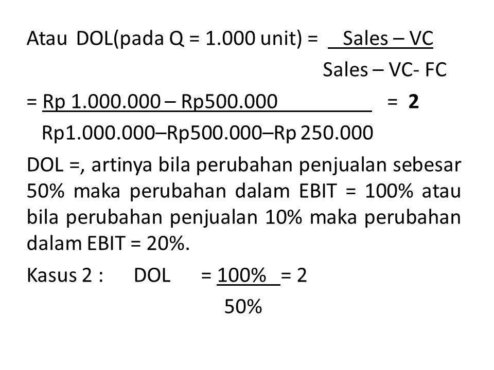 2.Bila unit yang diproduksi dan dijual naik 10%, maka berapa besarnya EPS .