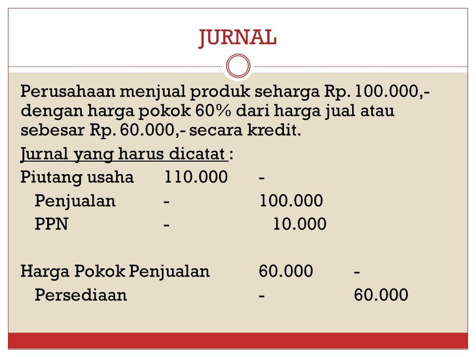 JURNAL Perusahaan menjual produk seharga Rp. 100.000,- dengan harga pokok 60% dari harga jual atau sebesar Rp. 60.000,- secara kredit. Jurnal yang har