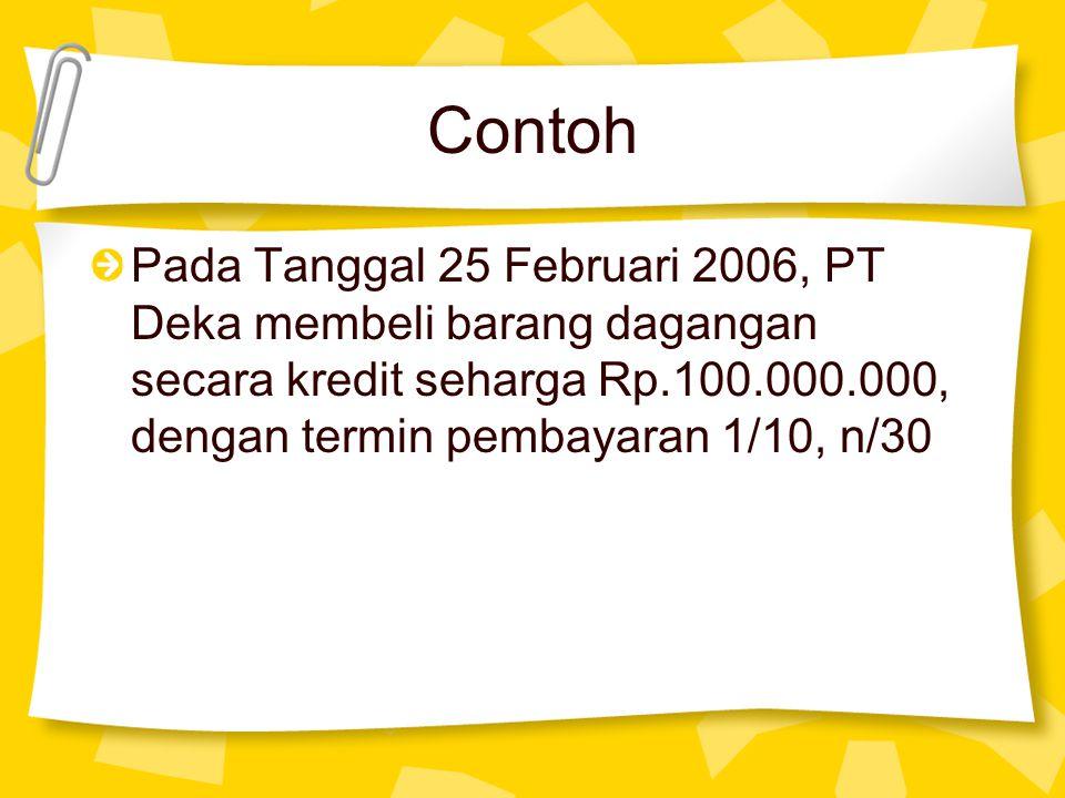 Contoh Pada Tanggal 25 Februari 2006, PT Deka membeli barang dagangan secara kredit seharga Rp.100.000.000, dengan termin pembayaran 1/10, n/30