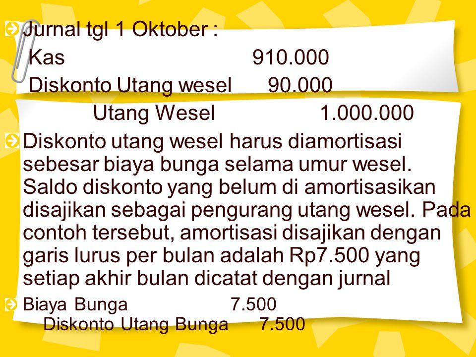 Jurnal tgl 1 Oktober : Kas 910.000 Diskonto Utang wesel 90.000 Utang Wesel 1.000.000 Diskonto utang wesel harus diamortisasi sebesar biaya bunga selam