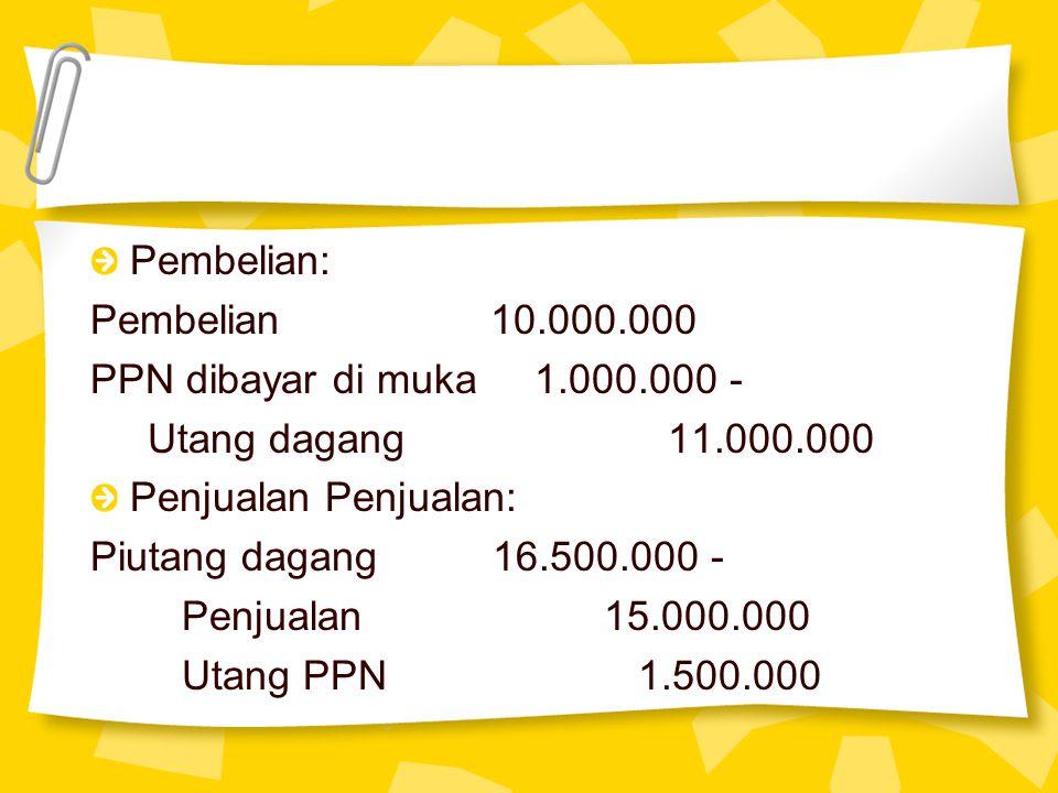 Pembelian: Pembelian 10.000.000 PPN dibayar di muka 1.000.000 - Utang dagang 11.000.000 Penjualan Penjualan: Piutang dagang 16.500.000 - Penjualan 15.