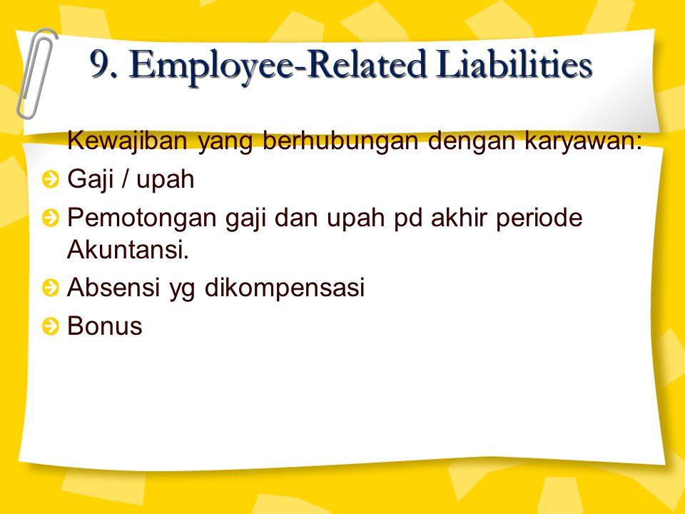 Kewajiban yang berhubungan dengan karyawan: Gaji / upah Pemotongan gaji dan upah pd akhir periode Akuntansi. Absensi yg dikompensasi Bonus 9. Employee