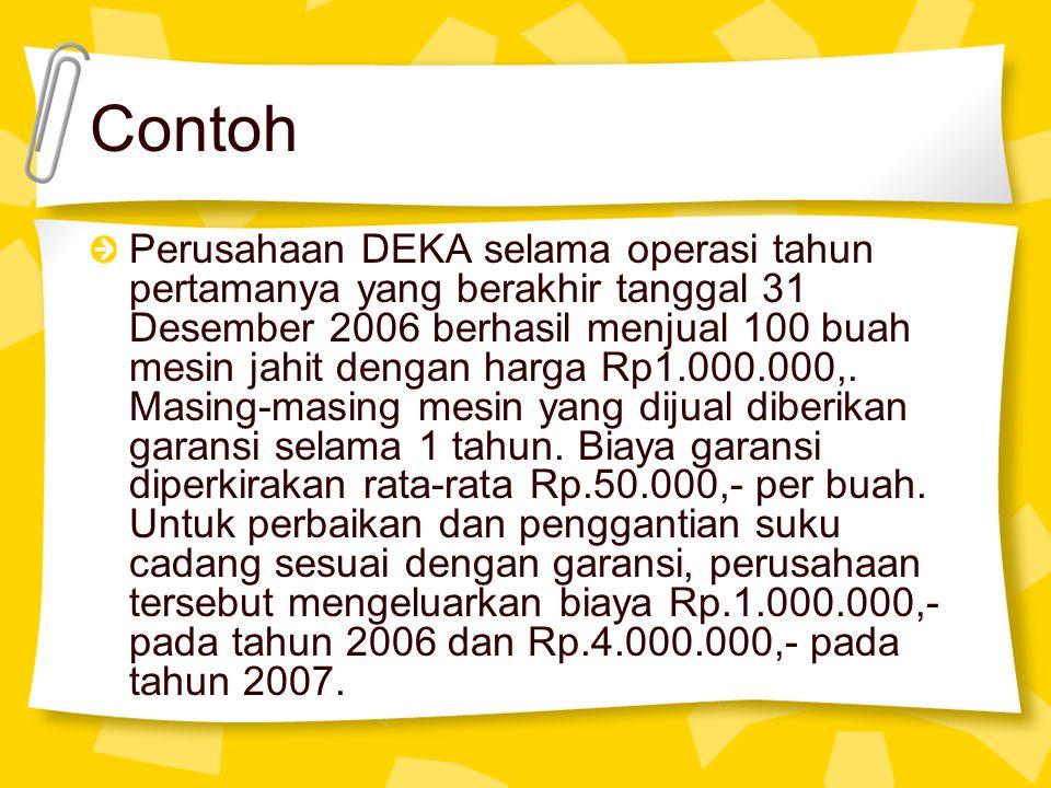 Contoh Perusahaan DEKA selama operasi tahun pertamanya yang berakhir tanggal 31 Desember 2006 berhasil menjual 100 buah mesin jahit dengan harga Rp1.0