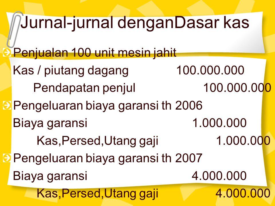 Jurnal-jurnal denganDasar kas Penjualan 100 unit mesin jahit Kas / piutang dagang 100.000.000 Pendapatan penjul 100.000.000 Pengeluaran biaya garansi