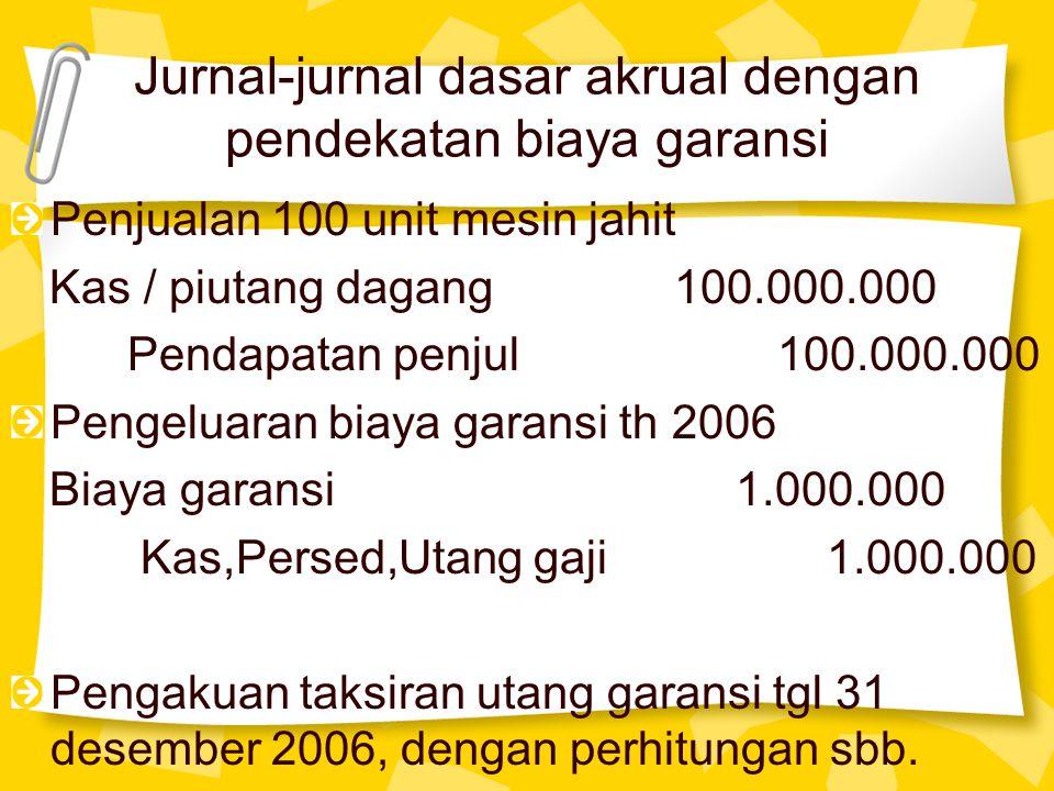 Jurnal-jurnal dasar akrual dengan pendekatan biaya garansi Penjualan 100 unit mesin jahit Kas / piutang dagang 100.000.000 Pendapatan penjul 100.000.0