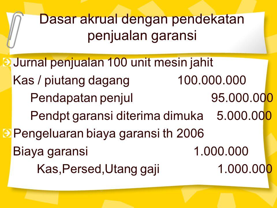 Dasar akrual dengan pendekatan penjualan garansi Jurnal penjualan 100 unit mesin jahit Kas / piutang dagang 100.000.000 Pendapatan penjul 95.000.000 P