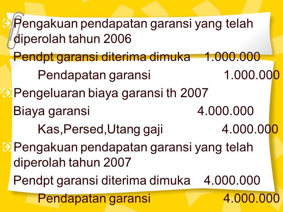 Pengakuan pendapatan garansi yang telah diperolah tahun 2006 Pendpt garansi diterima dimuka 1.000.000 Pendapatan garansi 1.000.000 Pengeluaran biaya g