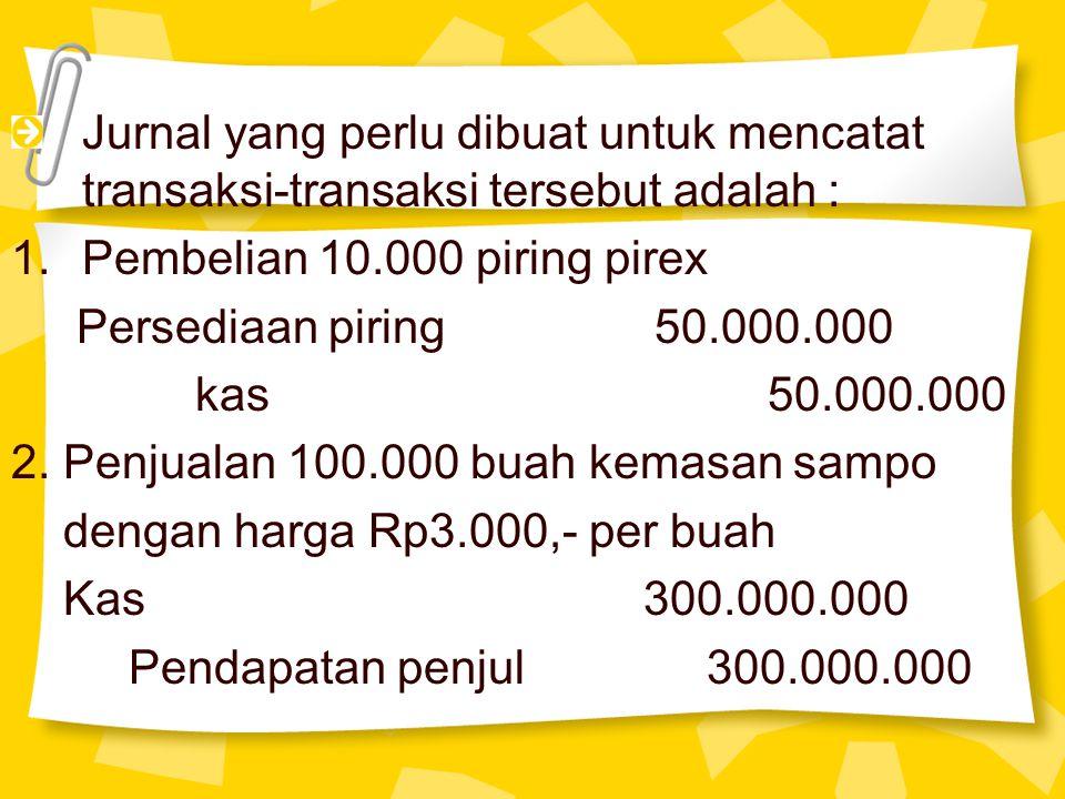 Jurnal yang perlu dibuat untuk mencatat transaksi-transaksi tersebut adalah : 1.Pembelian 10.000 piring pirex Persediaan piring 50.000.000 kas 50.000.