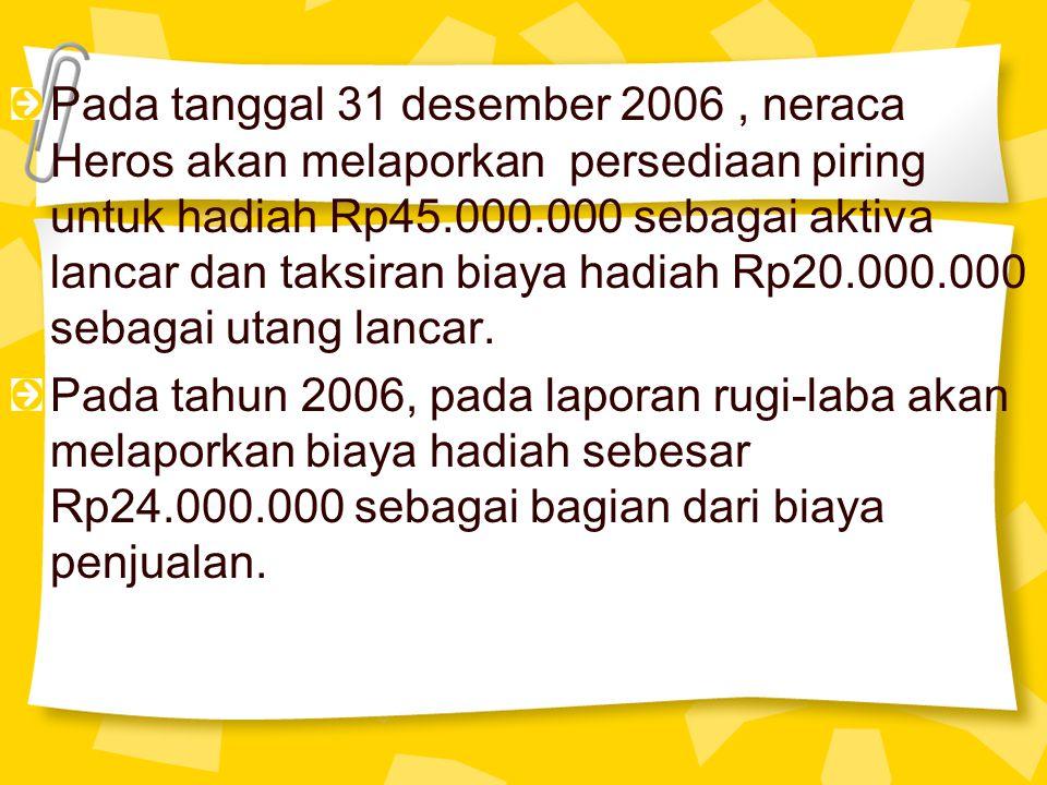 Pada tanggal 31 desember 2006, neraca Heros akan melaporkan persediaan piring untuk hadiah Rp45.000.000 sebagai aktiva lancar dan taksiran biaya hadia