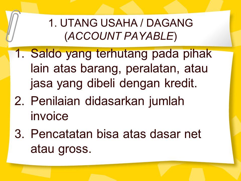 1. UTANG USAHA / DAGANG (ACCOUNT PAYABLE) 1.Saldo yang terhutang pada pihak lain atas barang, peralatan, atau jasa yang dibeli dengan kredit. 2.Penila
