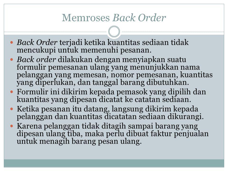 Memroses Back Order  Back Order terjadi ketika kuantitas sediaan tidak mencukupi untuk memenuhi pesanan.  Back order dilakukan dengan menyiapkan sua