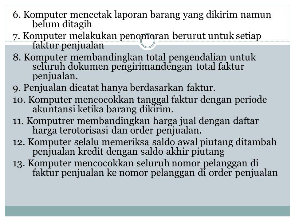 6. Komputer mencetak laporan barang yang dikirim namun belum ditagih 7. Komputer melakukan penomoran berurut untuk setiap faktur penjualan 8. Komputer