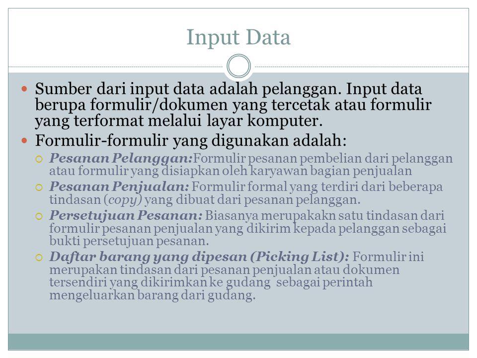 Input Data  Sumber dari input data adalah pelanggan.