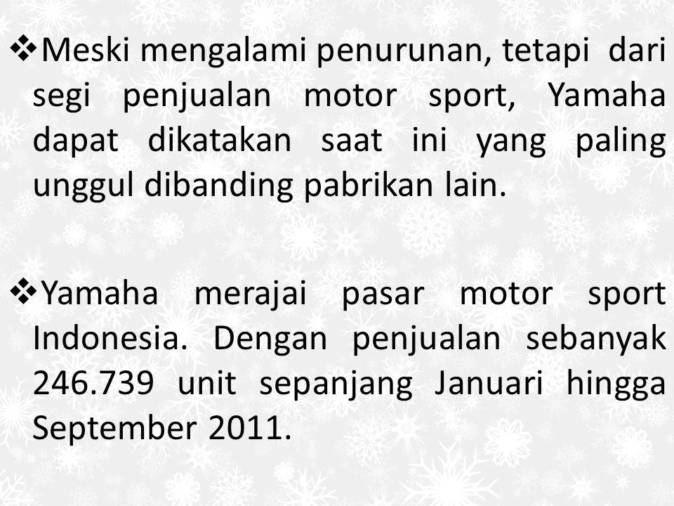  Meski mengalami penurunan, tetapi dari segi penjualan motor sport, Yamaha dapat dikatakan saat ini yang paling unggul dibanding pabrikan lain.  Yam