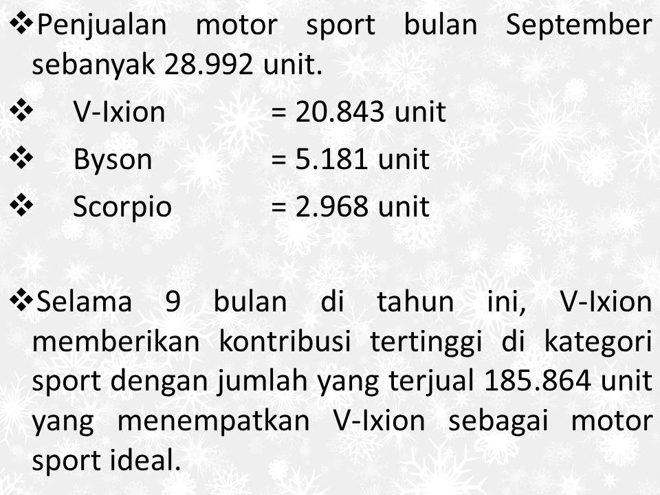  Penjualan motor sport bulan September sebanyak 28.992 unit.  V-Ixion= 20.843 unit  Byson= 5.181 unit  Scorpio= 2.968 unit  Selama 9 bulan di tah