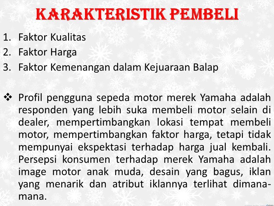 Karakteristik Pembeli 1.Faktor Kualitas 2.Faktor Harga 3.Faktor Kemenangan dalam Kejuaraan Balap  Profil pengguna sepeda motor merek Yamaha adalah re