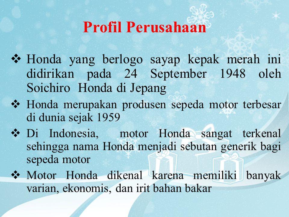 Profil Perusahaan  Honda yang berlogo sayap kepak merah ini didirikan pada 24 September 1948 oleh Soichiro Honda di Jepang  Honda merupakan produsen