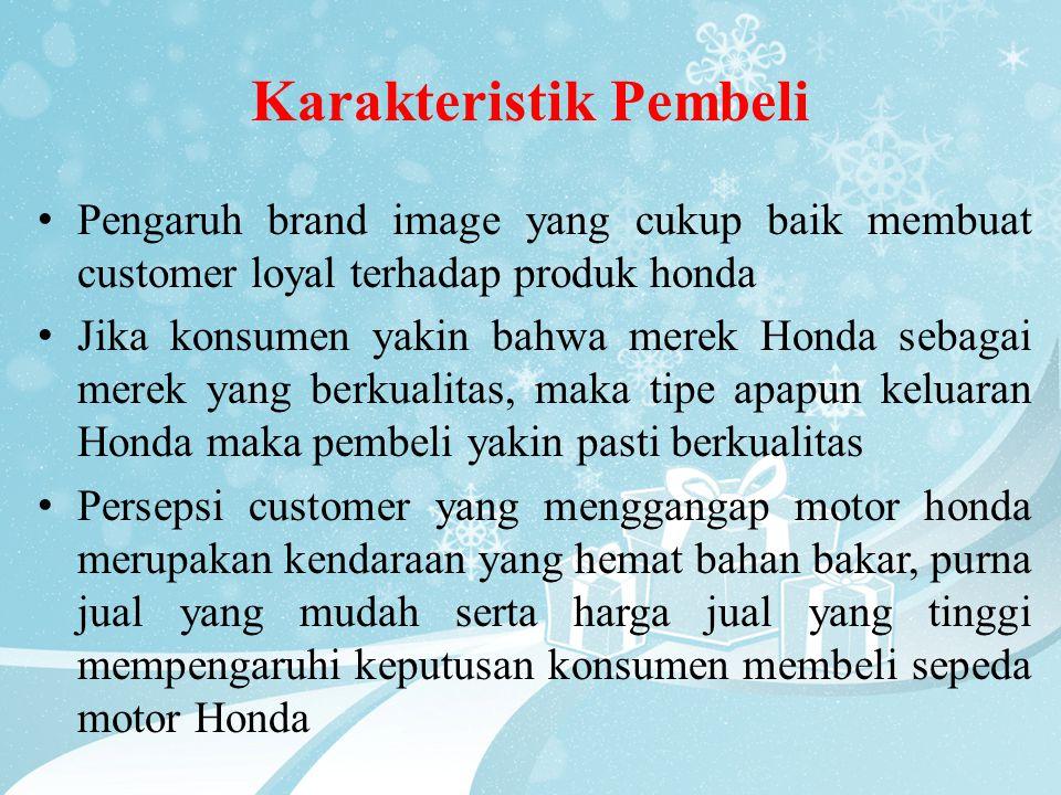 Karakteristik Pembeli • Pengaruh brand image yang cukup baik membuat customer loyal terhadap produk honda • Jika konsumen yakin bahwa merek Honda seba