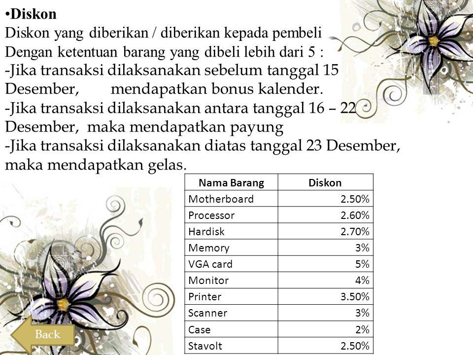 •Diskon Diskon yang diberikan / diberikan kepada pembeli Dengan ketentuan barang yang dibeli lebih dari 5 : -Jika transaksi dilaksanakan sebelum tangg