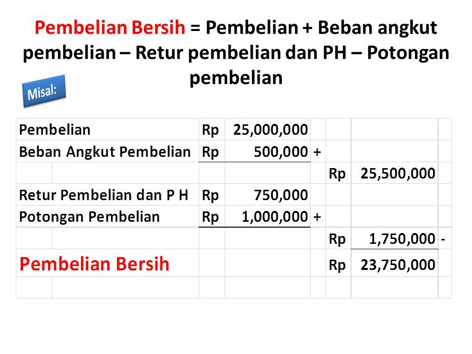 Pembelian Bersih = Pembelian + Beban angkut pembelian – Retur pembelian dan PH – Potongan pembelian
