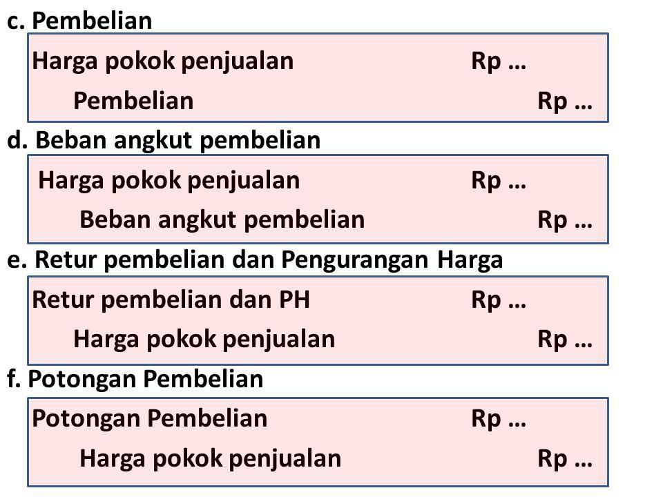 c.Pembelian Harga pokok penjualanRp … PembelianRp … d.
