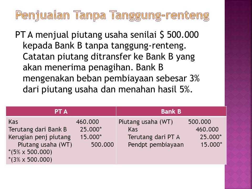 PT A menjual piutang usaha senilai $ 500.000 kepada Bank B tanpa tanggung-renteng. Catatan piutang ditransfer ke Bank B yang akan menerima penagihan.