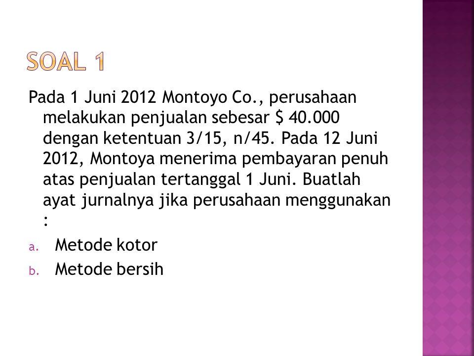 Pada 1 Juni 2012 Montoyo Co., perusahaan melakukan penjualan sebesar $ 40.000 dengan ketentuan 3/15, n/45. Pada 12 Juni 2012, Montoya menerima pembaya