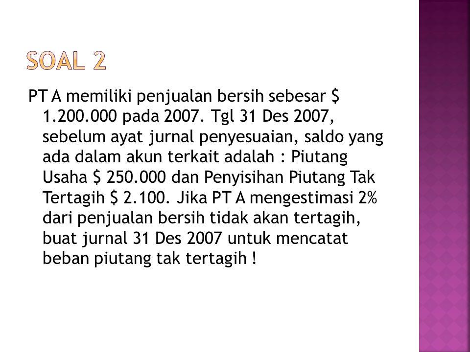 PT A memiliki penjualan bersih sebesar $ 1.200.000 pada 2007. Tgl 31 Des 2007, sebelum ayat jurnal penyesuaian, saldo yang ada dalam akun terkait adal