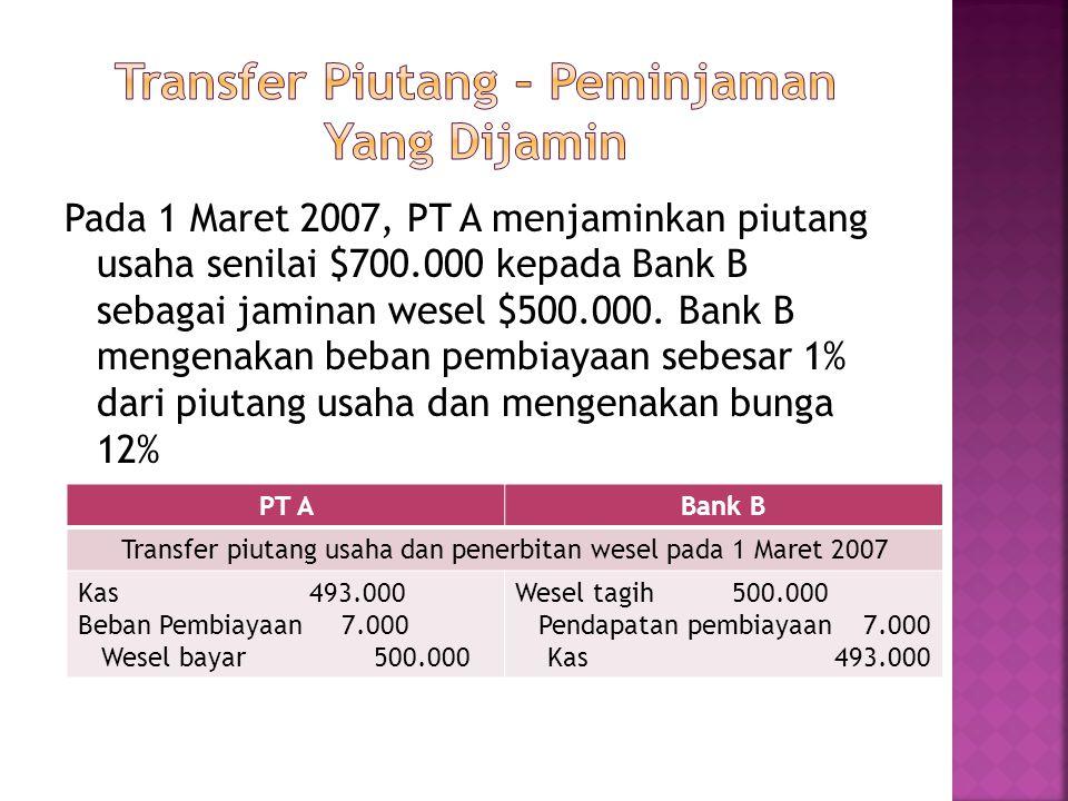 Pada 1 Maret 2007, PT A menjaminkan piutang usaha senilai $700.000 kepada Bank B sebagai jaminan wesel $500.000. Bank B mengenakan beban pembiayaan se