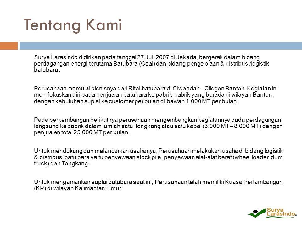 Tentang Kami Surya Larasindo didirikan pada tanggal 27 Juli 2007 di Jakarta, bergerak dalam bidang perdagangan energi-terutama Batubara (Coal) dan bid