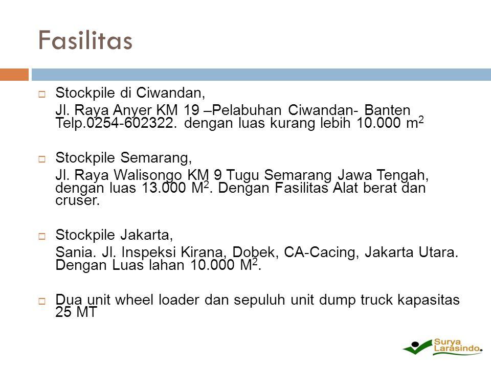 Fasilitas  Stockpile di Ciwandan, Jl. Raya Anyer KM 19 –Pelabuhan Ciwandan- Banten Telp.0254-602322. dengan luas kurang lebih 10.000 m 2  Stockpile