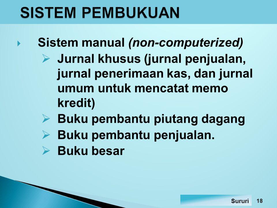  Sistem berbantuan komputer (computerized) Prinsip pembukuan pada sistem berbantuan komputer sama dengan sistem manual.