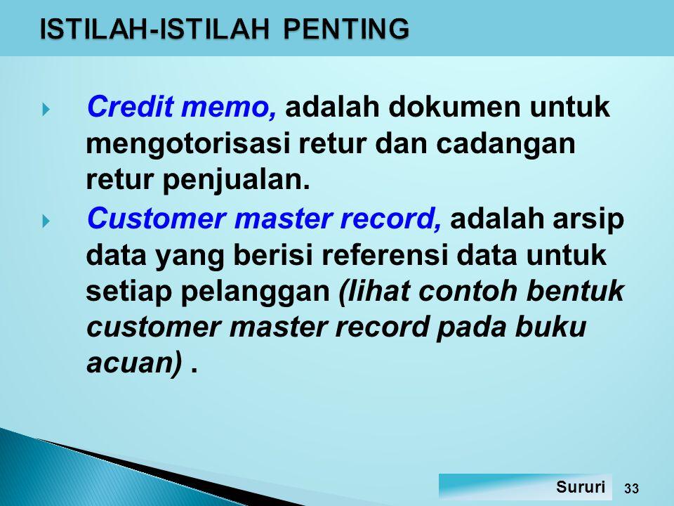 Customer statement, adalah laporan untuk pelanggan yang berisi daftar transaksi selama jangka waktu tertentu.