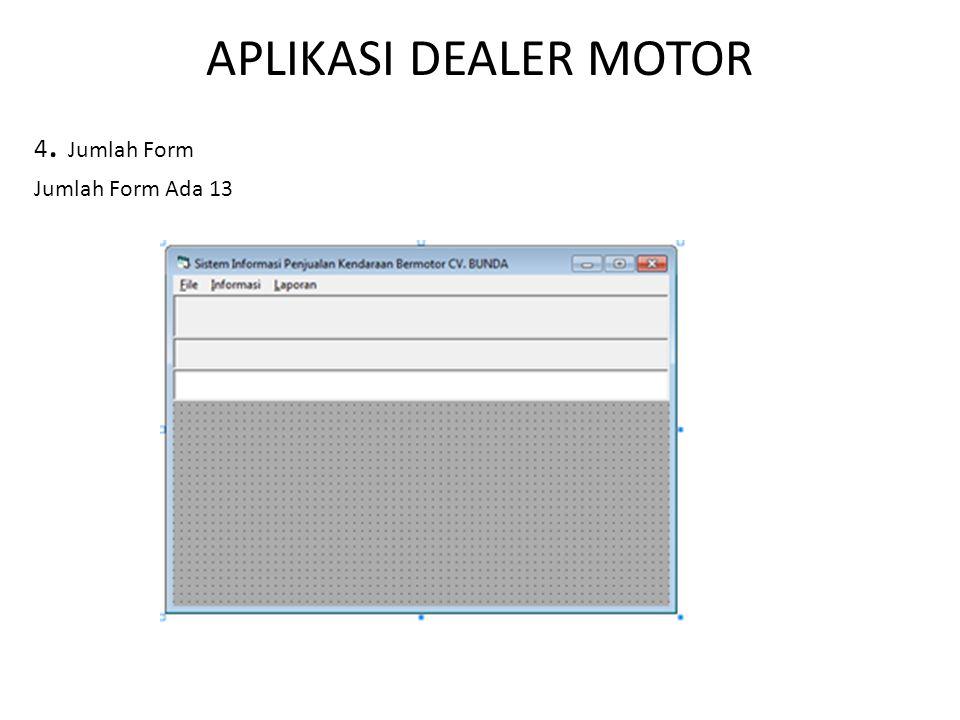 APLIKASI DEALER MOTOR 4. Jumlah Form Jumlah Form Ada 13