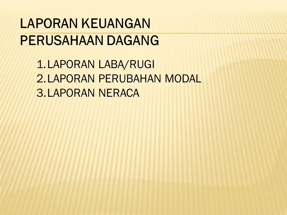 LAPORAN KEUANGAN PERUSAHAAN DAGANG 1.LAPORAN LABA/RUGI 2.LAPORAN PERUBAHAN MODAL 3.LAPORAN NERACA