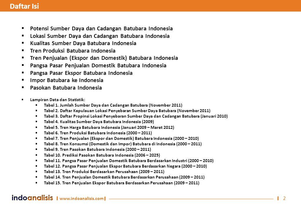 www.indoanalisis.com 2  Potensi Sumber Daya dan Cadangan Batubara Indonesia  Lokasi Sumber Daya dan Cadangan Batubara Indonesia  Kualitas Sumber Da