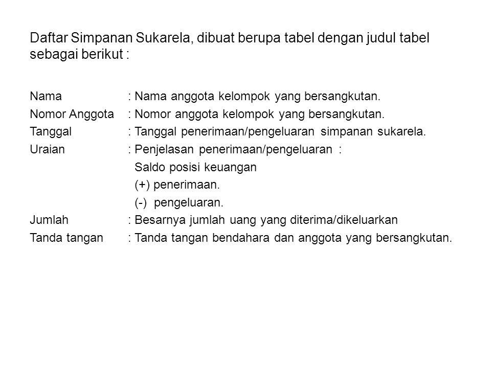 Daftar Simpanan Sukarela, dibuat berupa tabel dengan judul tabel sebagai berikut : Nama: Nama anggota kelompok yang bersangkutan. Nomor Anggota : Nomo