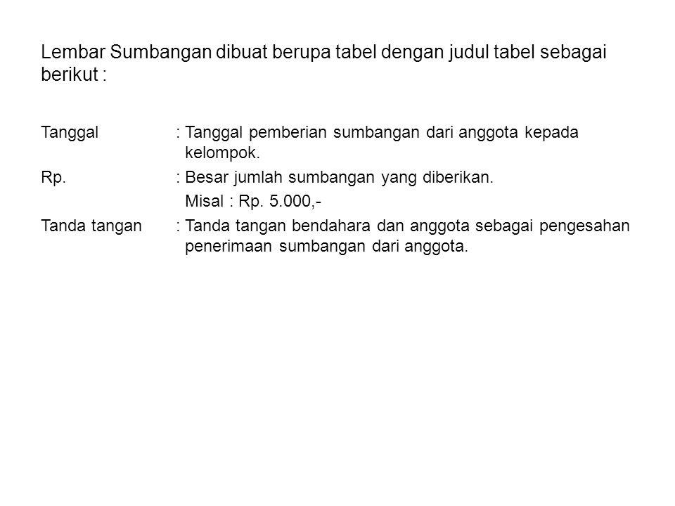 Lembar Sumbangan dibuat berupa tabel dengan judul tabel sebagai berikut : Tanggal: Tanggal pemberian sumbangan dari anggota kepada kelompok. Rp.: Besa