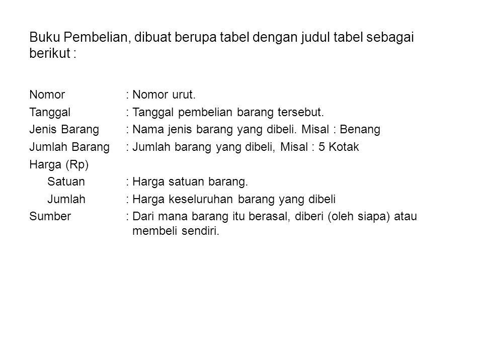 Buku Pembelian, dibuat berupa tabel dengan judul tabel sebagai berikut : Nomor: Nomor urut. Tanggal: Tanggal pembelian barang tersebut. Jenis Barang: