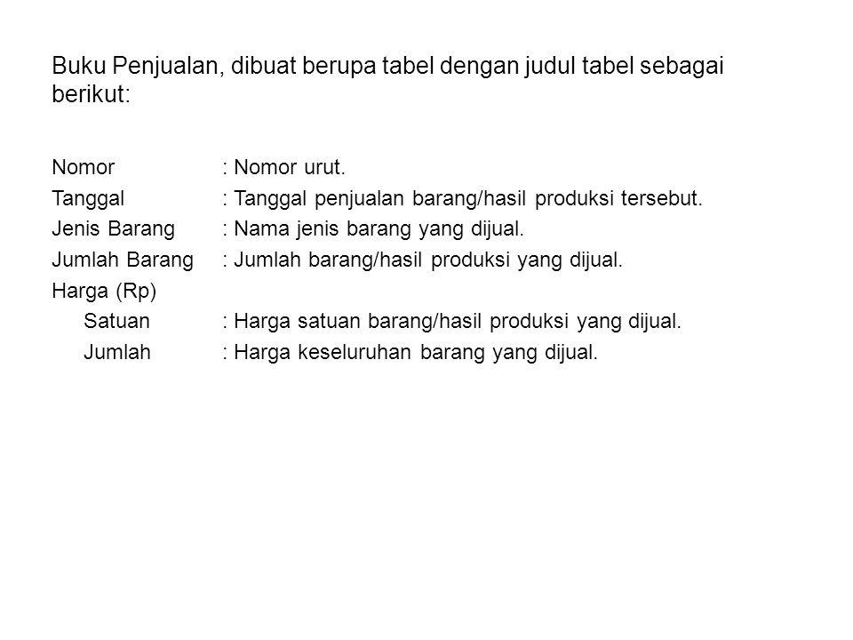 Buku Penjualan, dibuat berupa tabel dengan judul tabel sebagai berikut: Nomor: Nomor urut. Tanggal: Tanggal penjualan barang/hasil produksi tersebut.