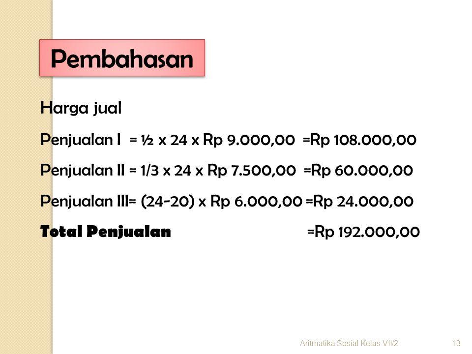 Harga jual Penjualan I = ½ x 24 x Rp 9.000,00 =Rp 108.000,00 Penjualan II = 1/3 x 24 x Rp 7.500,00 =Rp 60.000,00 Penjualan III= (24-20) x Rp 6.000,00