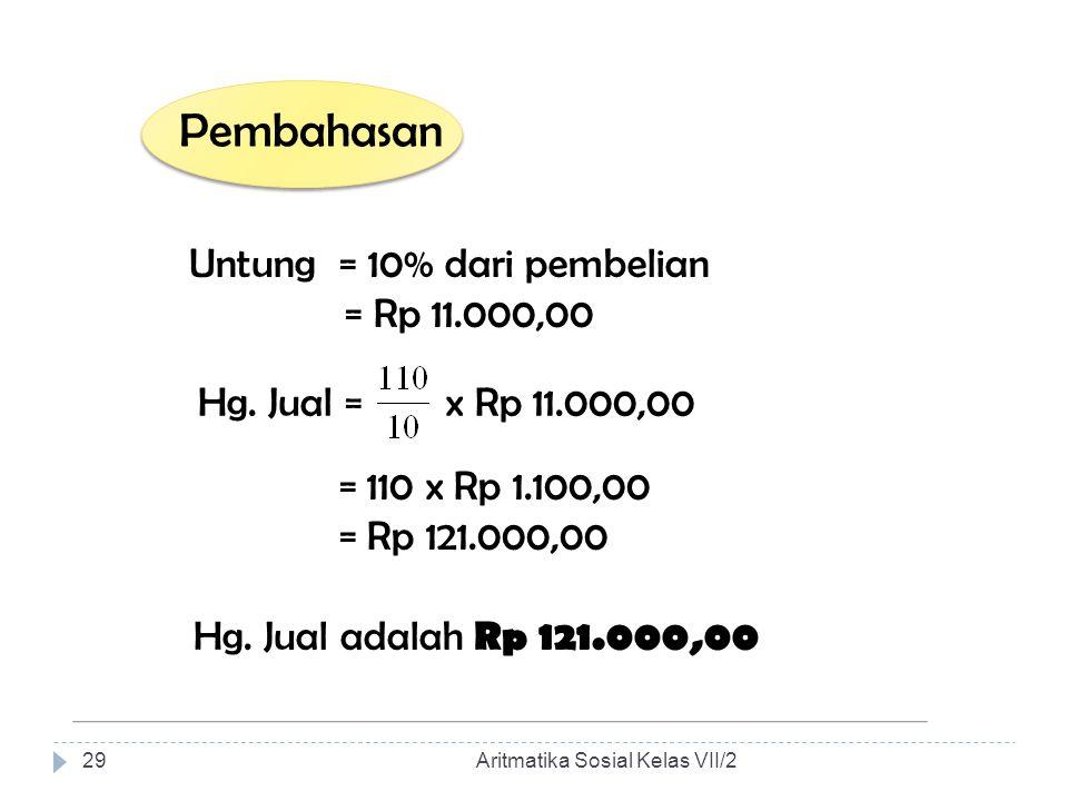 Pembahasan Untung = 10% dari pembelian = Rp 11.000,00 Hg. Jual = x Rp 11.000,00 = 110 x Rp 1.100,00 = Rp 121.000,00 Hg. Jual adalah Rp 121.000,00 Arit