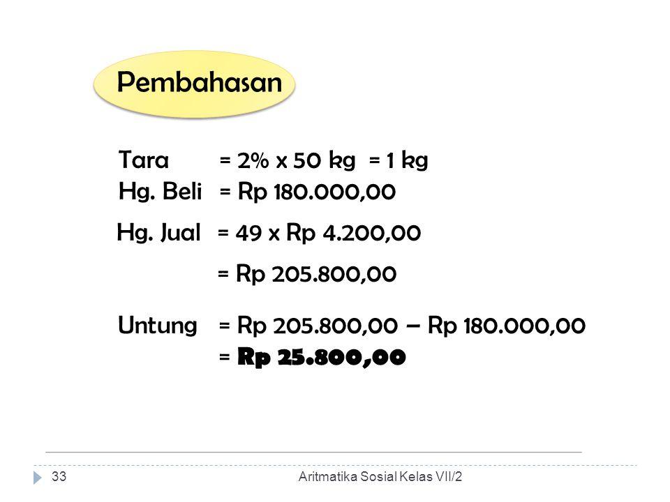 Pembahasan Tara = 2% x 50 kg = 1 Hg. Beli = Rp 180.000,00 Hg. Jual = 49 x Rp 4.200,00 = Rp 205.800,00 Untung = Rp 205.800,00 – Rp 180.000,00 = Rp 25.8