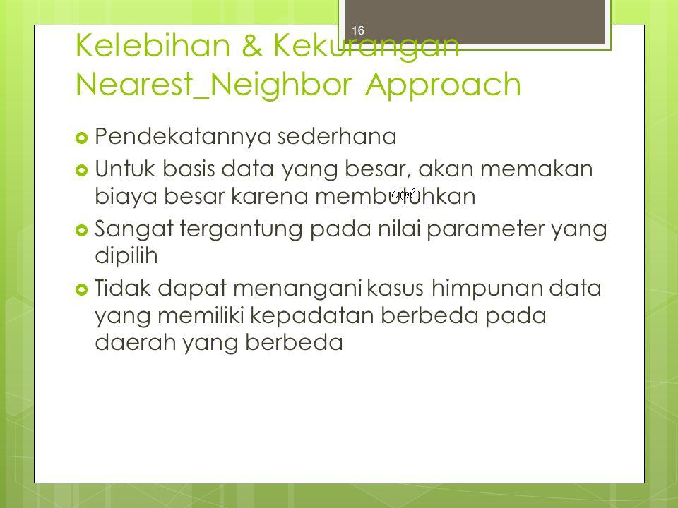 Kelebihan & Kekurangan Nearest_Neighbor Approach  Pendekatannya sederhana  Untuk basis data yang besar, akan memakan biaya besar karena membutuhkan