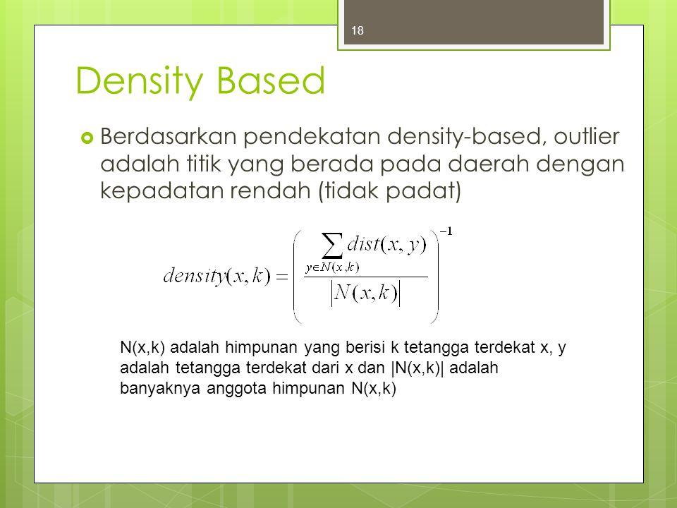 Density Based  Berdasarkan pendekatan density-based, outlier adalah titik yang berada pada daerah dengan kepadatan rendah (tidak padat) 18 N(x,k) ada